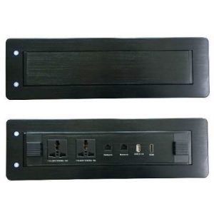 Hidden Electric Flip Up 2-Outlet Desktop Socket Box