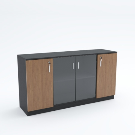 Low Height Cabinet (mid glass wooden end swing doors)