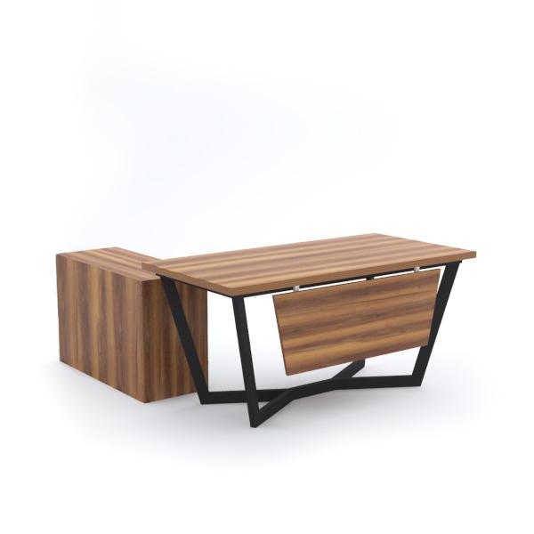 V Office Desk with Side Cabinet